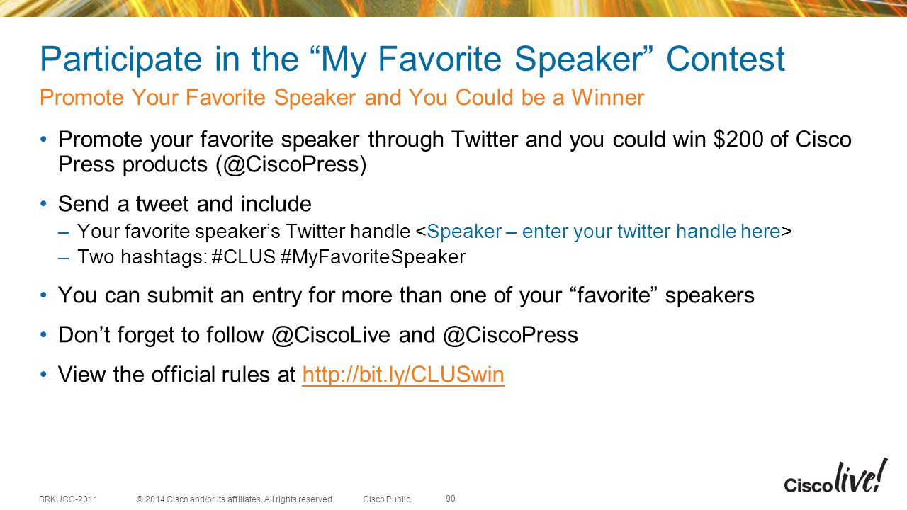 Participate in the My Favorite Speaker Contest