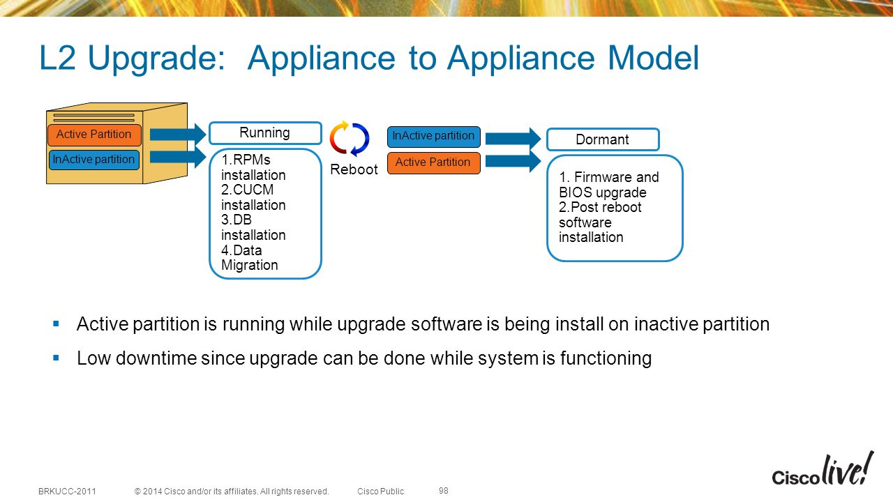 L2 Upgrade: Appliance to Appliance Model