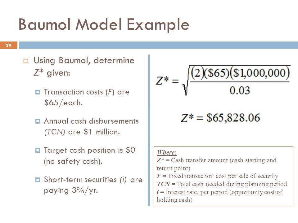 Baumol Model Example Using Baumol, determine Z* given: