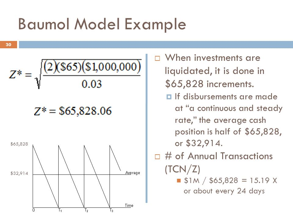 Baumol Model Example When investments are liquidated, it is done in $65,828 increments.