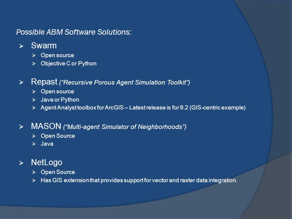 Possible ABM Software Solutions:
