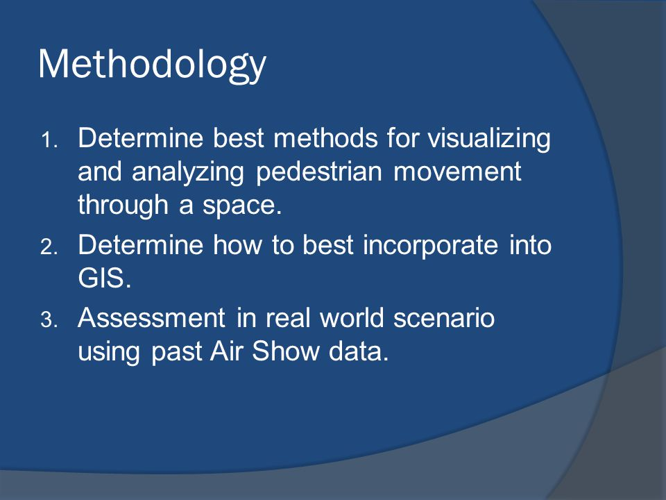 Methodology Determine best methods for visualizing and analyzing pedestrian movement through a space.