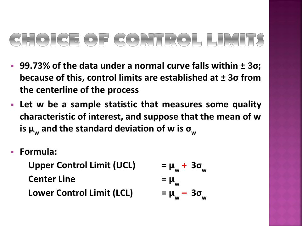 CHOICE OF CONTROL LIMITS