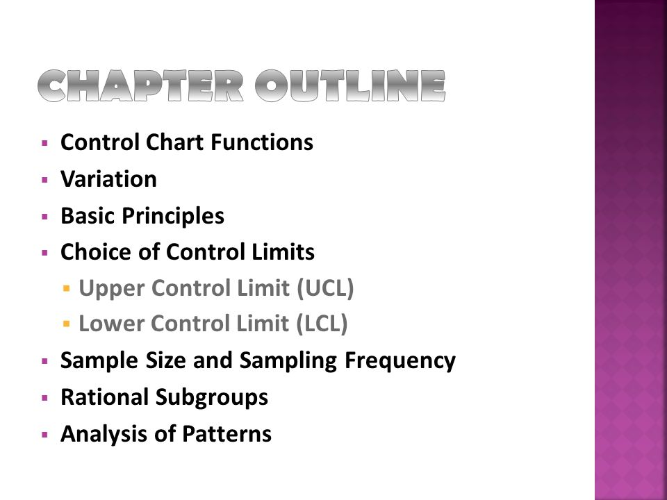 CHAPTER OUTLINE Control Chart Functions Variation Basic Principles