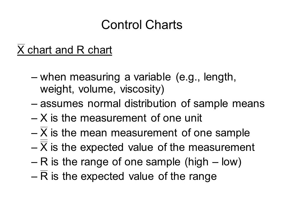 Control Charts X chart and R chart