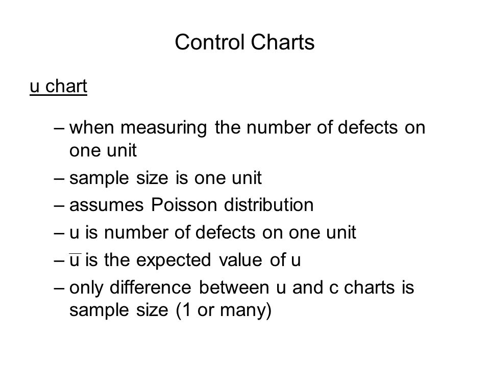 Control Charts u chart. when measuring the number of defects on one unit. sample size is one unit.