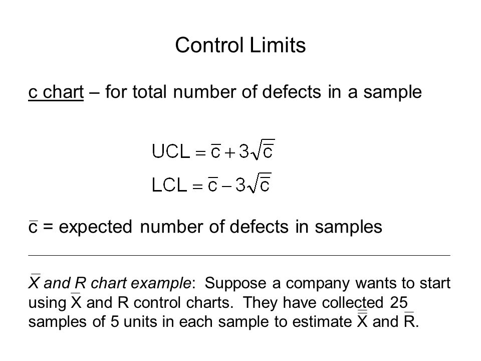 Control Limits c chart – for total number of defects in a sample