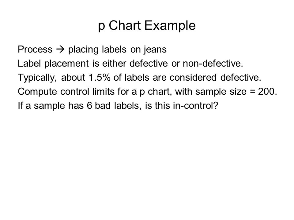 p Chart Example Process  placing labels on jeans