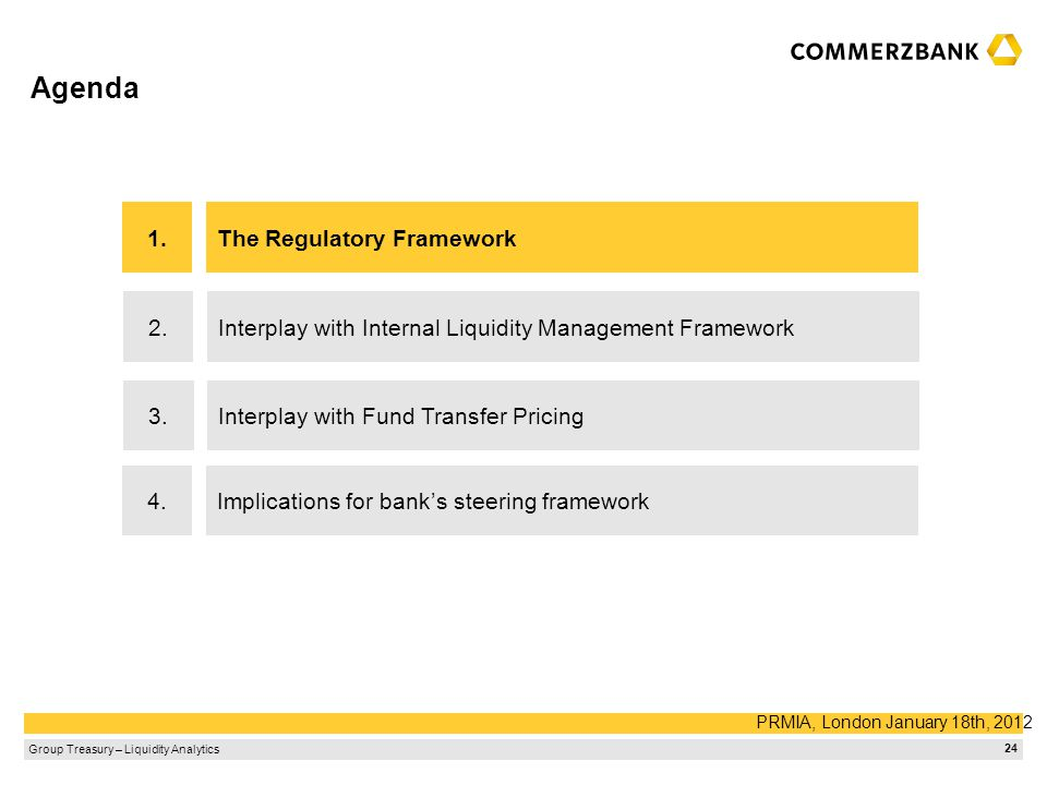 Agenda 1. The Regulatory Framework 2.