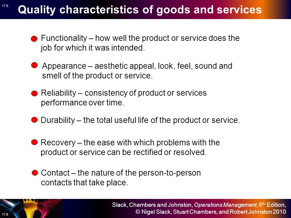 Quality characteristics of goods and services