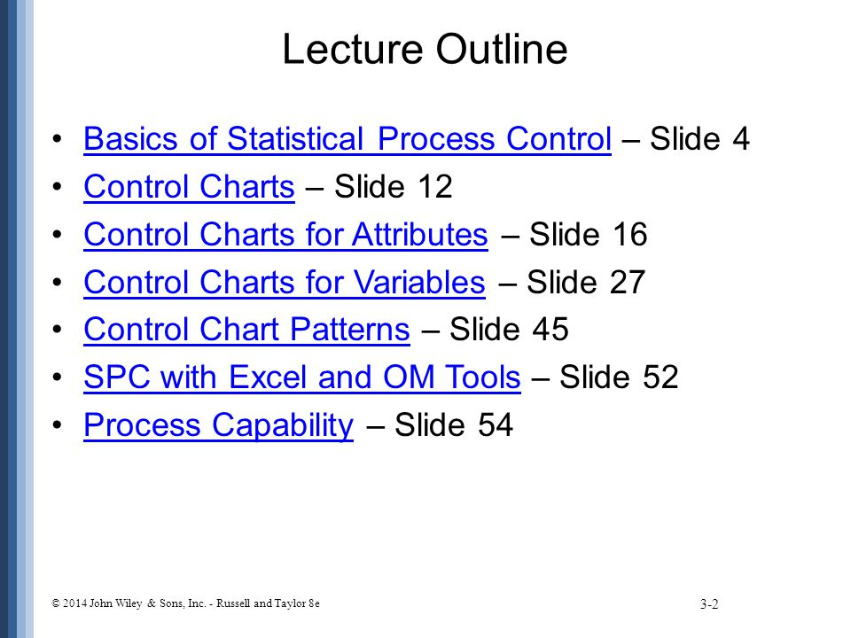 Lecture Outline Basics of Statistical Process Control – Slide 4