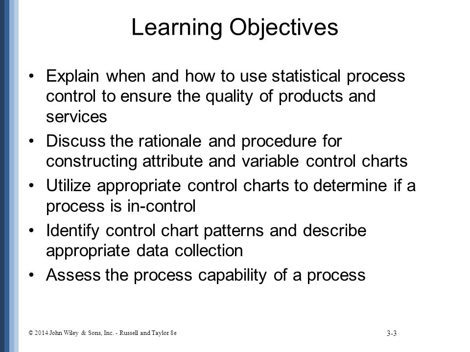 Learning Objectives Explain when and how to use statistical process control to ensure the quality of products and services.