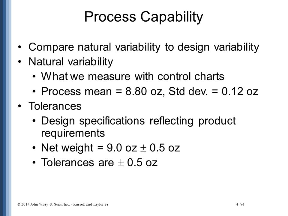 Process Capability Compare natural variability to design variability