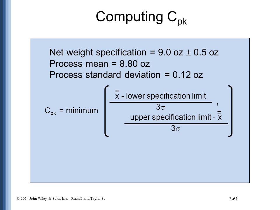 Computing Cpk Net weight specification = 9.0 oz  0.5 oz