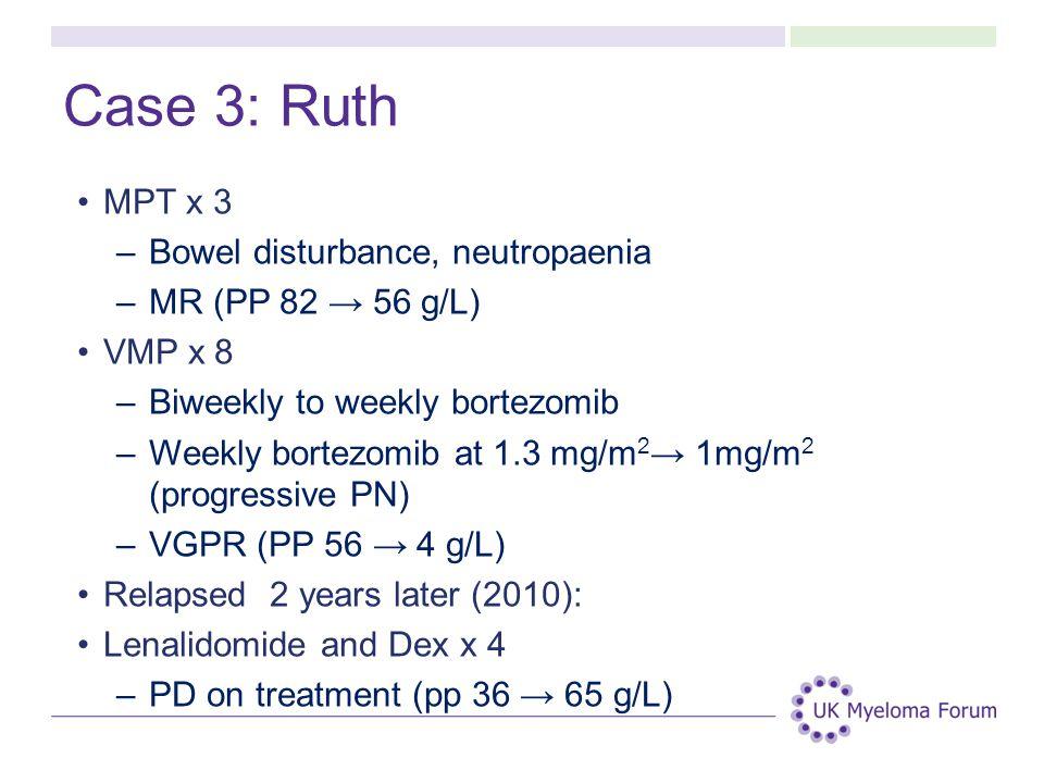 Case 3: Ruth MPT x 3 Bowel disturbance, neutropaenia