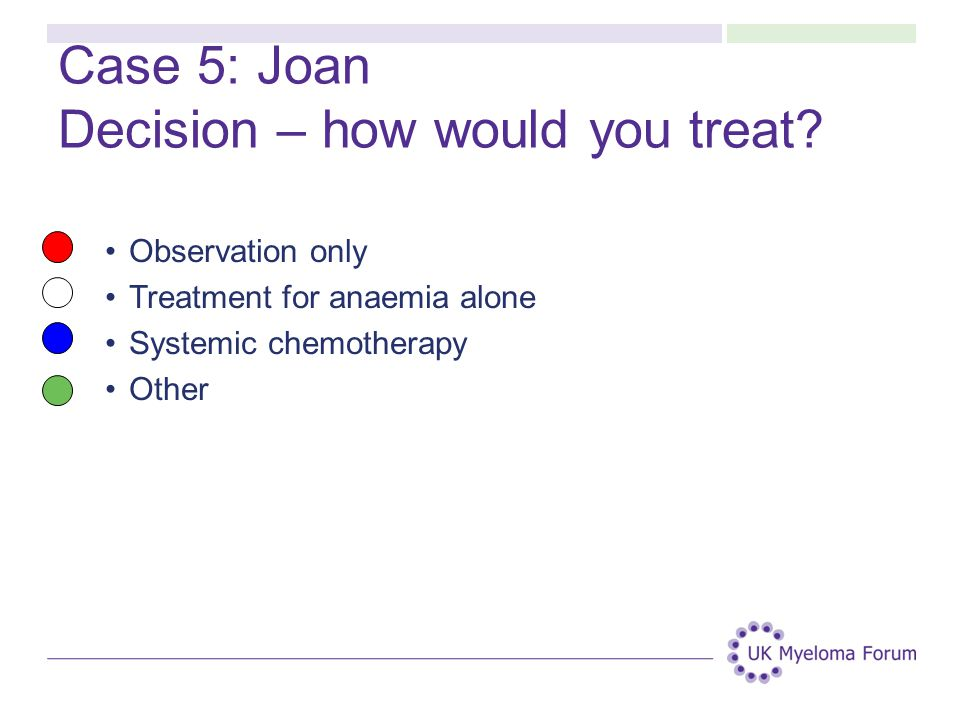 Case 5: Joan Decision – how would you treat