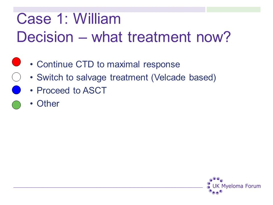 Case 1: William Decision – what treatment now