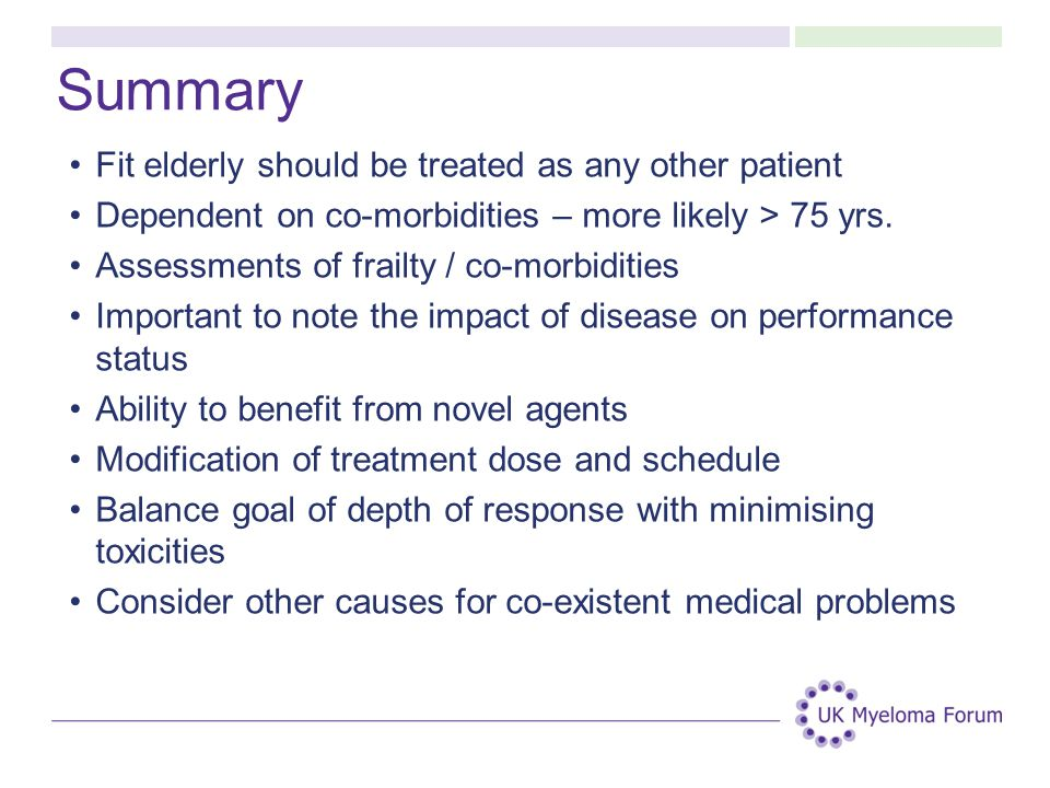 Summary Fit elderly should be treated as any other patient