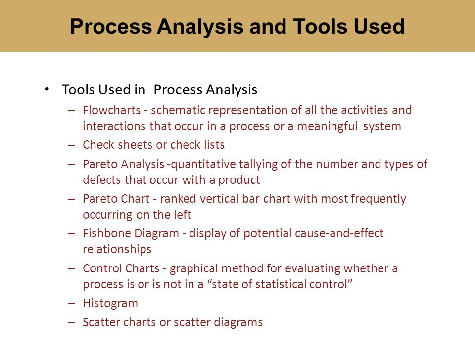 Process Analysis and Tools Used