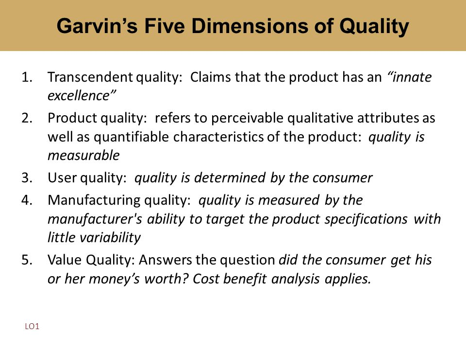 Garvin's Five Dimensions of Quality
