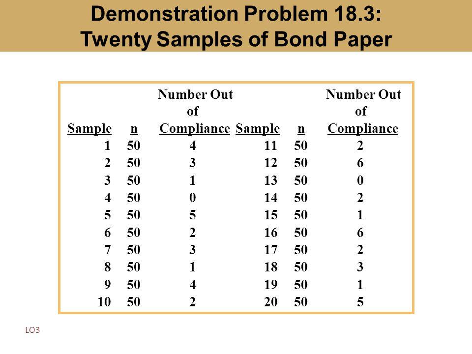Demonstration Problem 18.3: Twenty Samples of Bond Paper