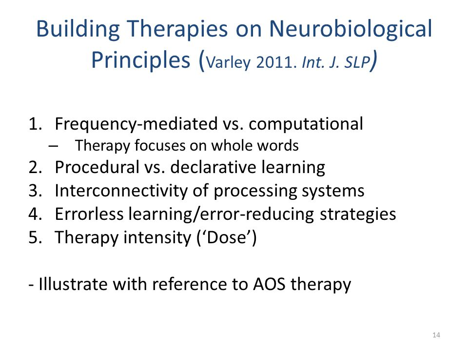 Building Therapies on Neurobiological Principles (Varley 2011. Int. J