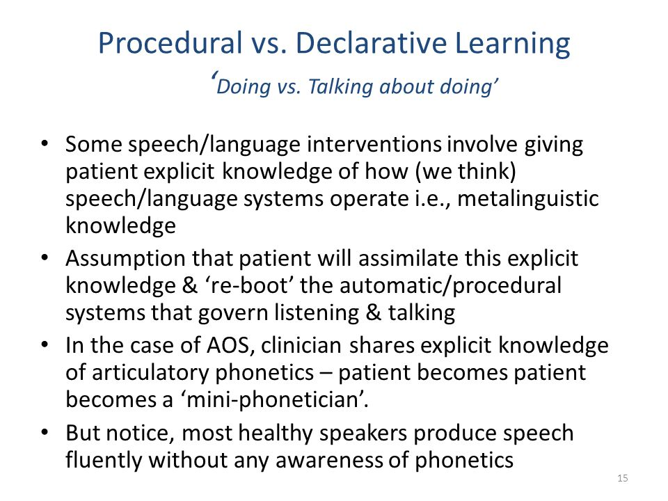 Procedural vs. Declarative Learning 'Doing vs. Talking about doing'