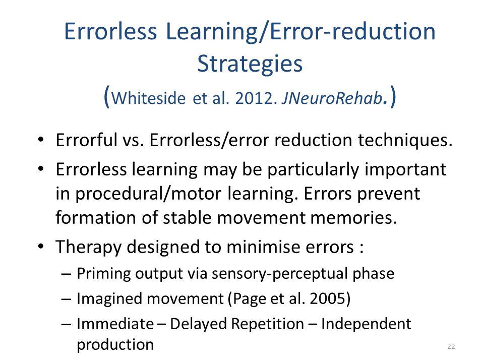 Errorless Learning/Error-reduction Strategies (Whiteside et al. 2012