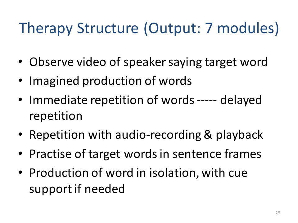 Therapy Structure (Output: 7 modules)