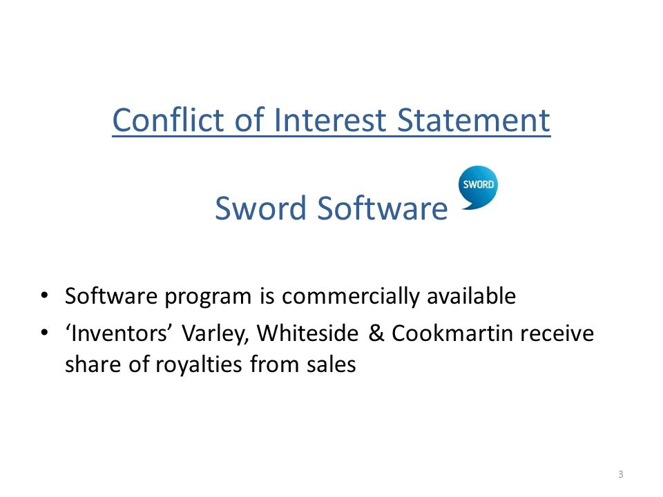 Conflict of Interest Statement Sword Software