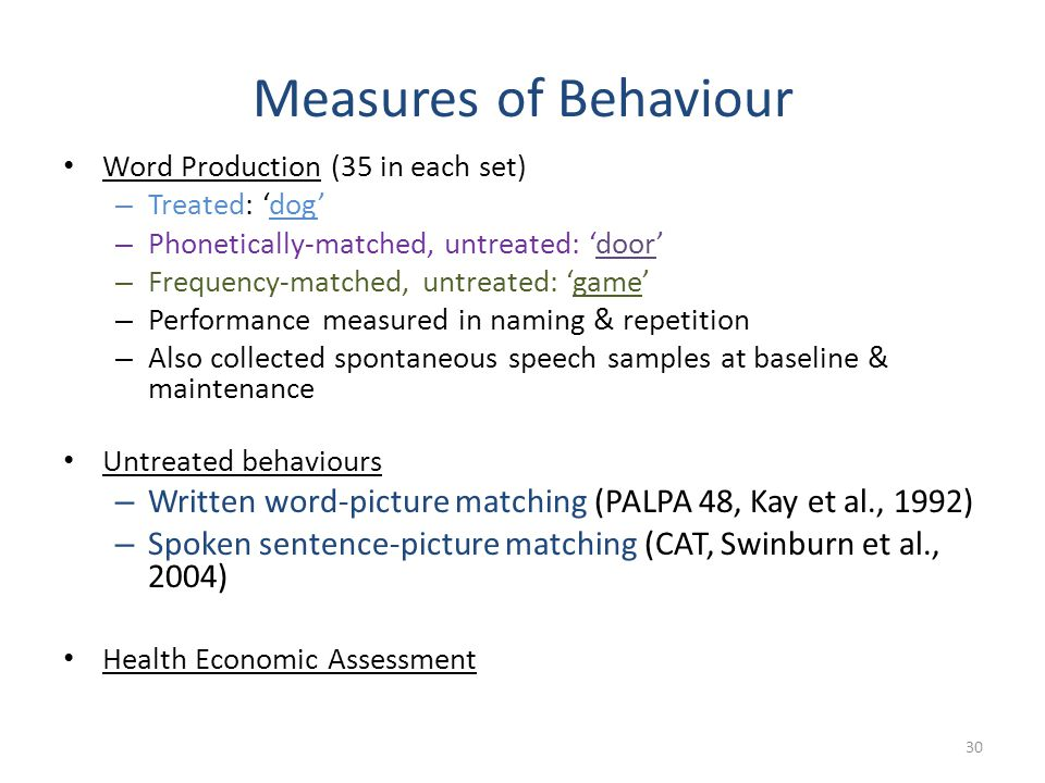 Measures of Behaviour Word Production (35 in each set) Treated: 'dog' Phonetically-matched, untreated: 'door'