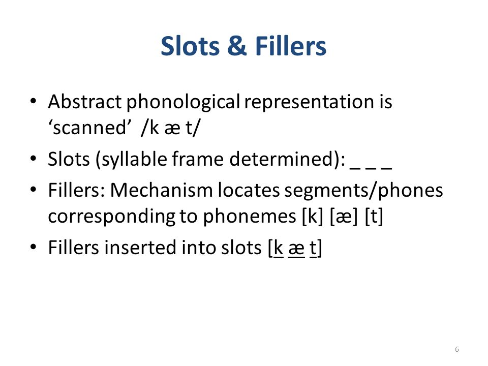 Slots & Fillers Abstract phonological representation is 'scanned' /k æ t/ Slots (syllable frame determined): _ _ _.