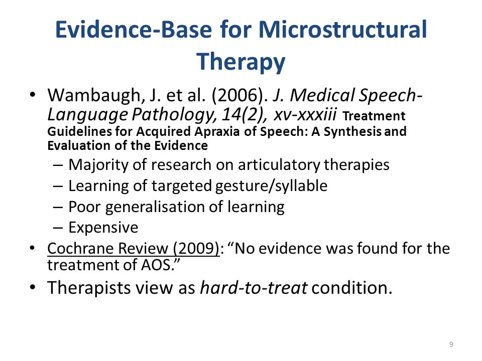 Evidence-Base for Microstructural Therapy