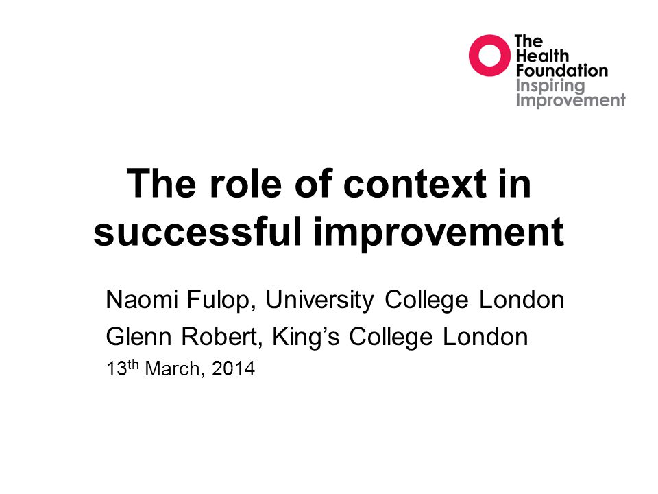 The role of context in successful improvement