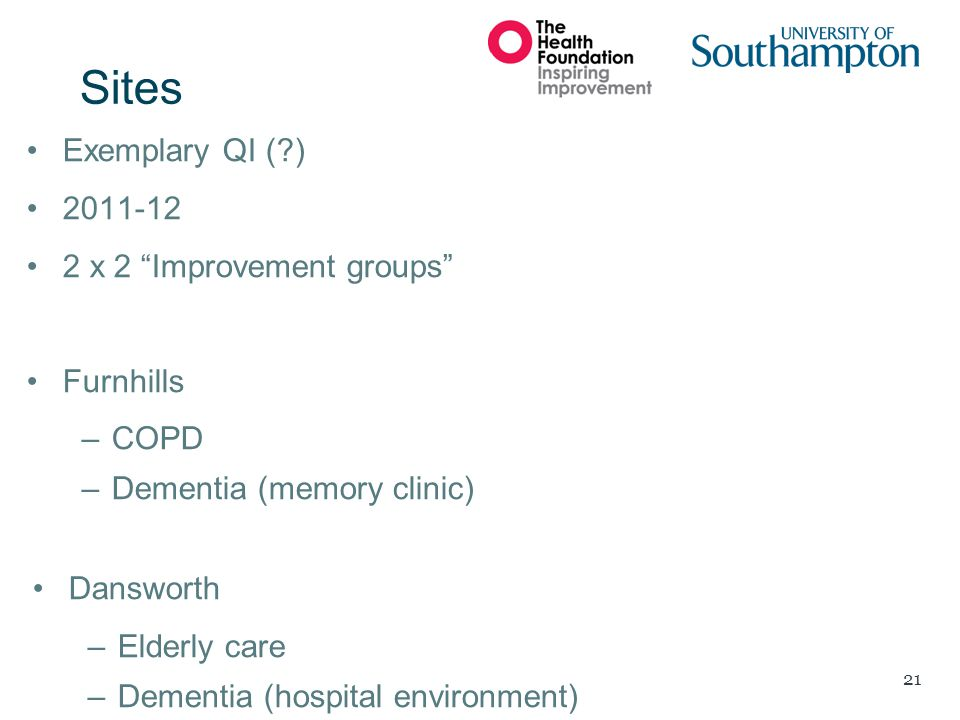 Sites Exemplary QI ( ) 2011-12 2 x 2 Improvement groups Furnhills
