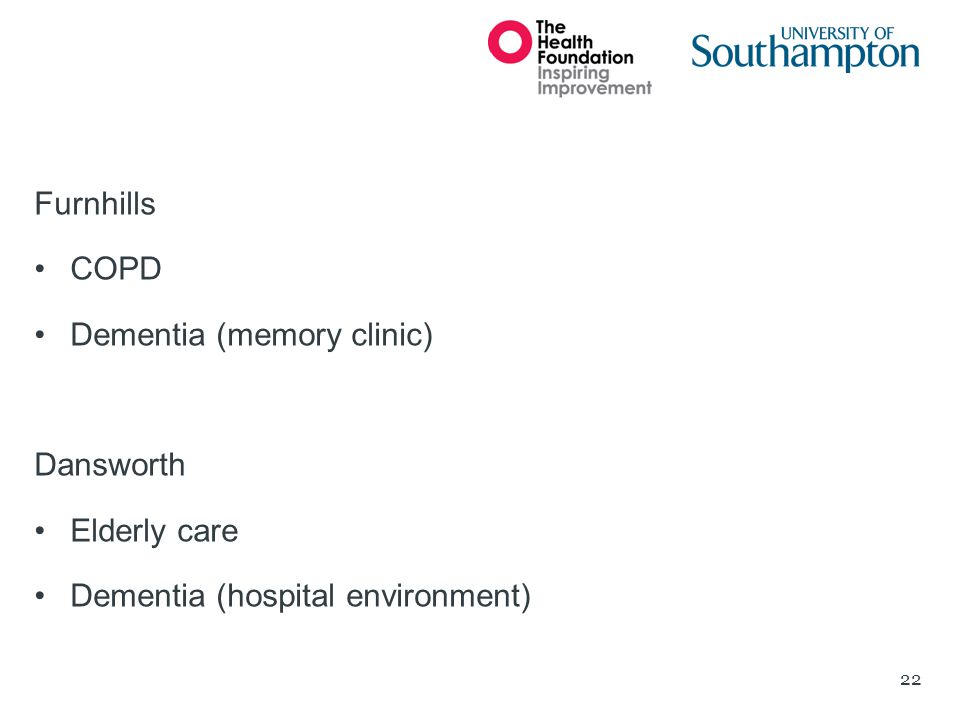 Furnhills COPD Dementia (memory clinic) Dansworth Elderly care Dementia (hospital environment)
