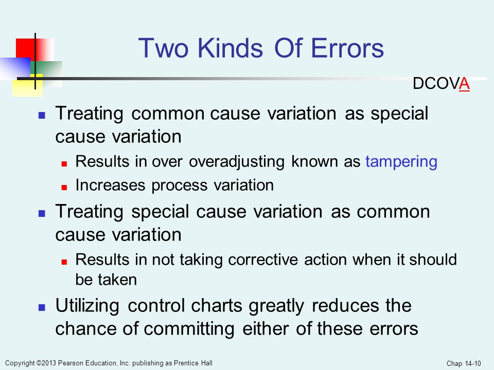Two Kinds Of Errors DCOVA. Treating common cause variation as special cause variation. Results in over overadjusting known as tampering.