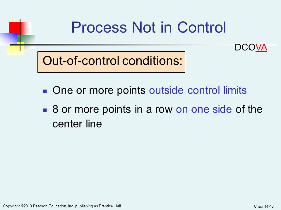Process Not in Control Out-of-control conditions:
