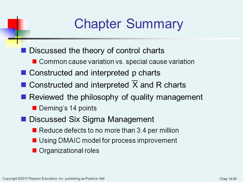 Chapter Summary Discussed the theory of control charts