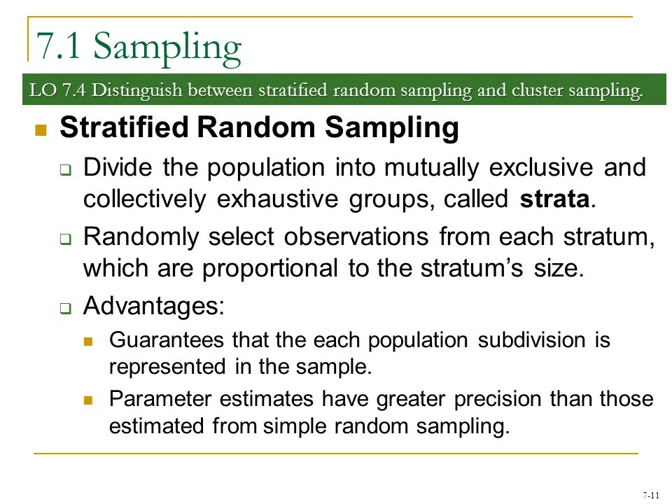7.1 Sampling Stratified Random Sampling