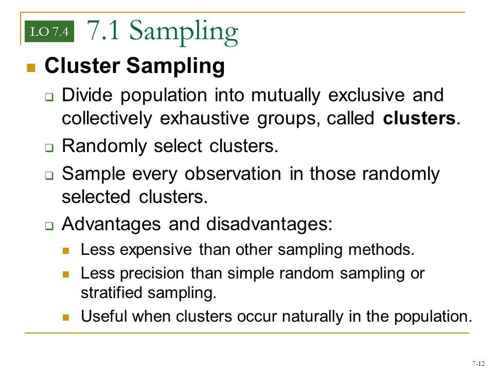 7.1 Sampling Cluster Sampling