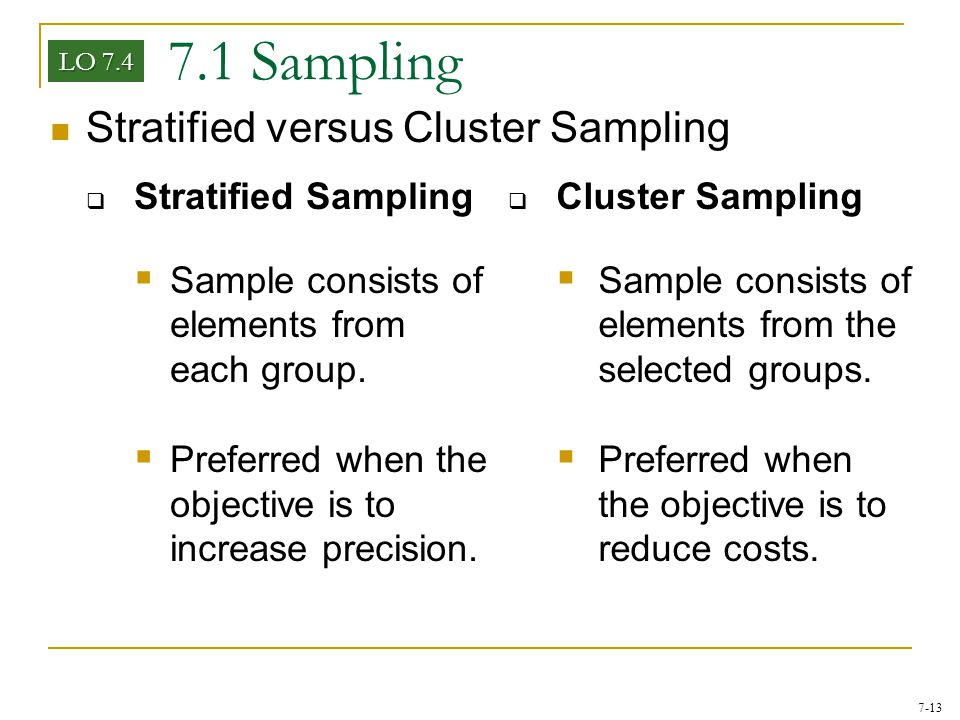 7.1 Sampling Stratified versus Cluster Sampling Stratified Sampling