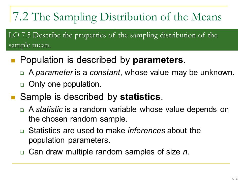 7.2 The Sampling Distribution of the Means