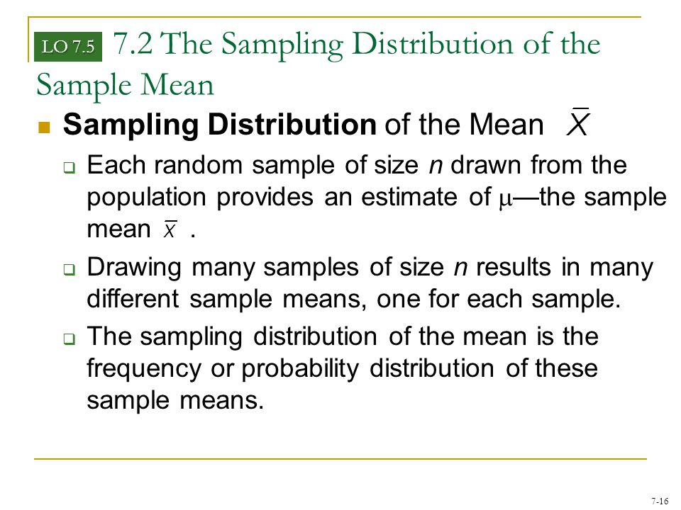 7.2 The Sampling Distribution of the Sample Mean