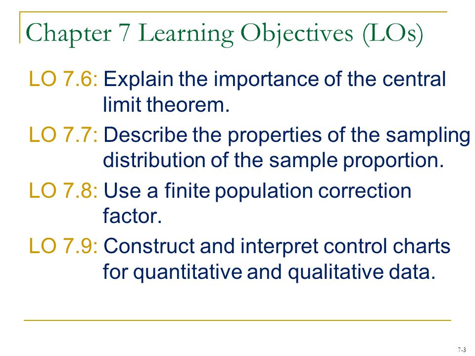 Chapter 7 Learning Objectives (LOs)
