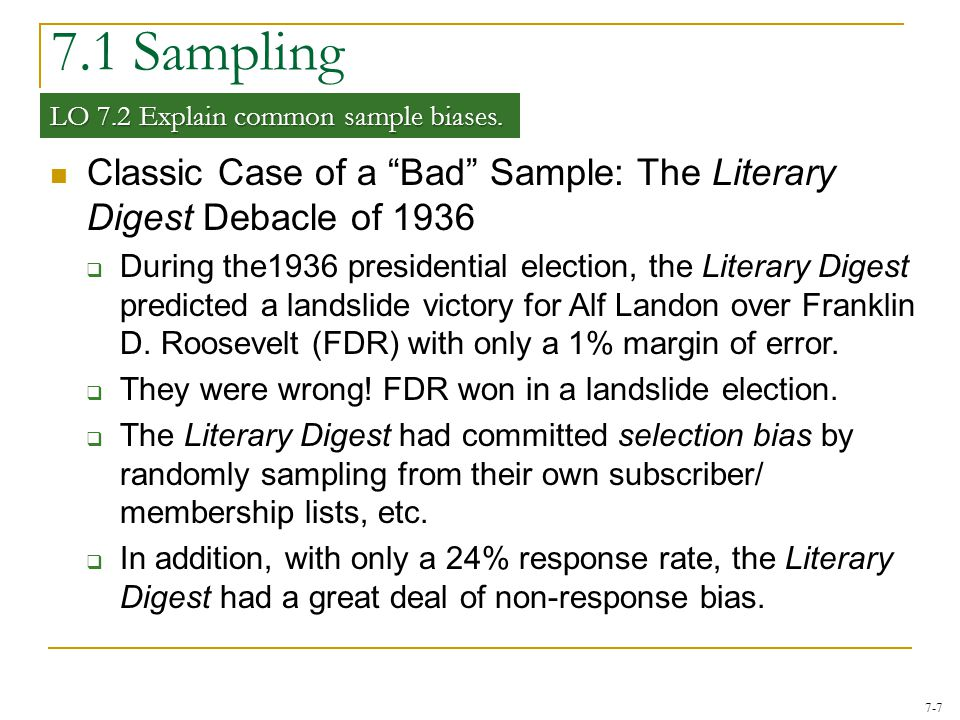 7.1 Sampling LO 7.2 Explain common sample biases. Classic Case of a Bad Sample: The Literary Digest Debacle of 1936.