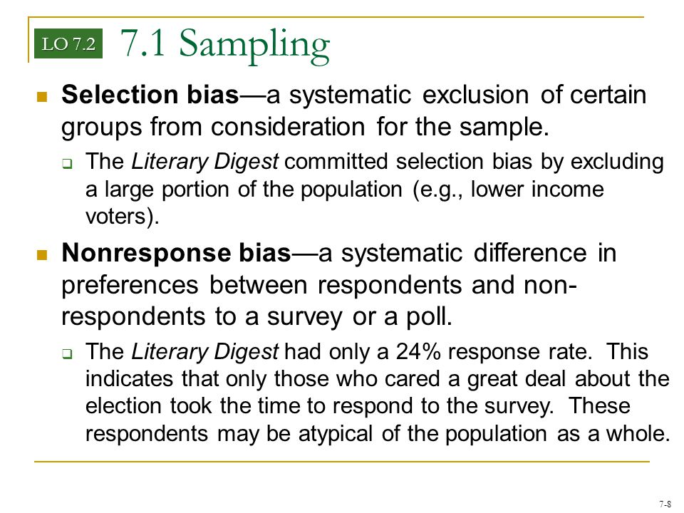 7.1 Sampling LO 7.2. Selection bias—a systematic exclusion of certain groups from consideration for the sample.
