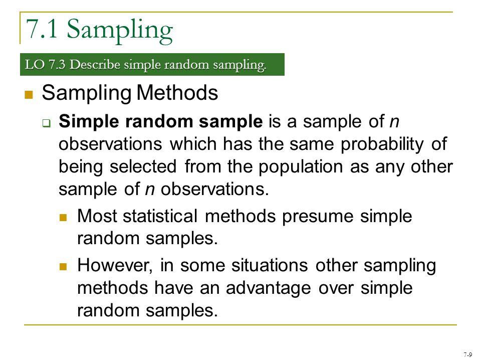 7.1 Sampling Sampling Methods