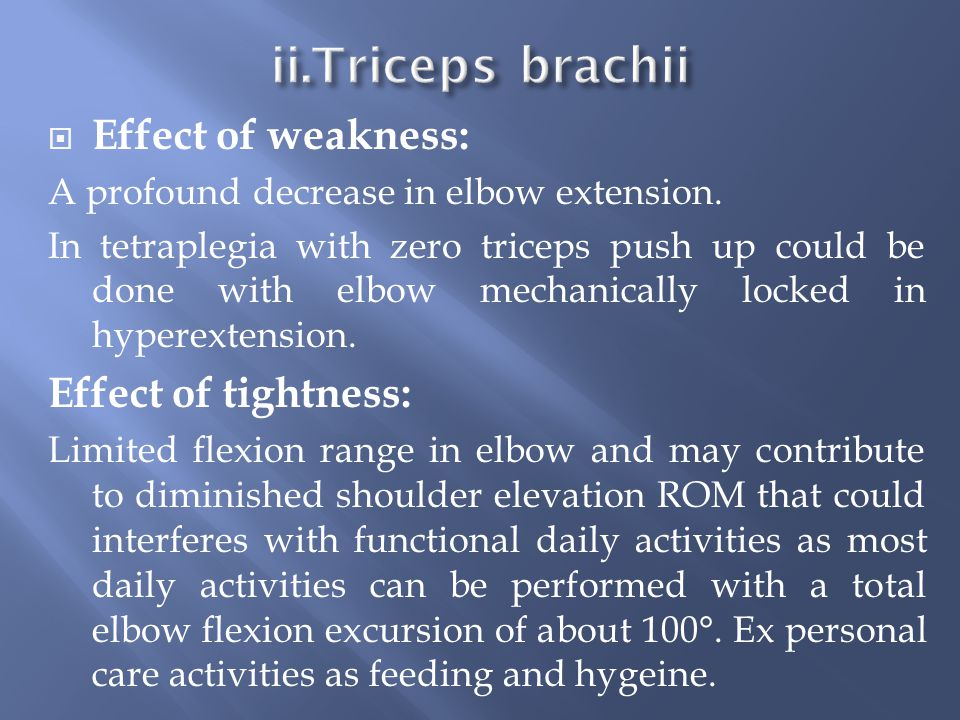 ii.Triceps brachii Effect of weakness: Effect of tightness: