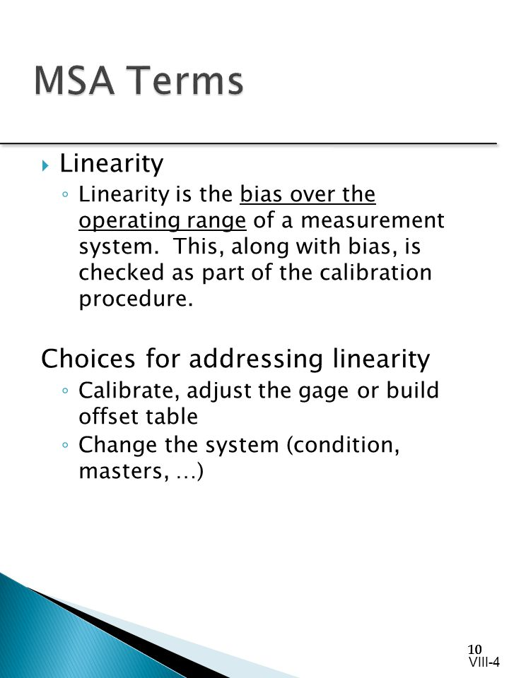 MSA Terms Linearity Choices for addressing linearity